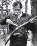 Jerry loads black powder rifle